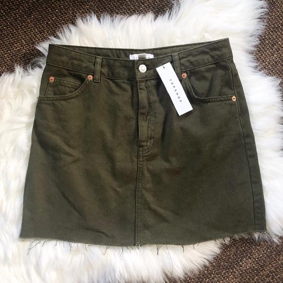 bb689435ac Topshop Skirts   Green Denim Mini Skirt Size 6   Poshmark